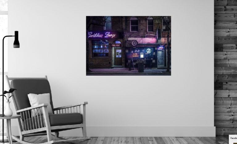 Ulica sklep nocą fotoobraz