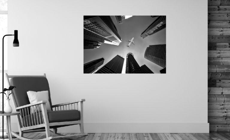 Budynki samolot fotoobraz